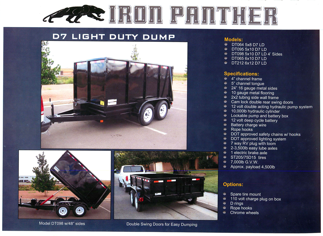 Tandem Axle D-7 Light Duty Dump Trailer - Zoom Motors and